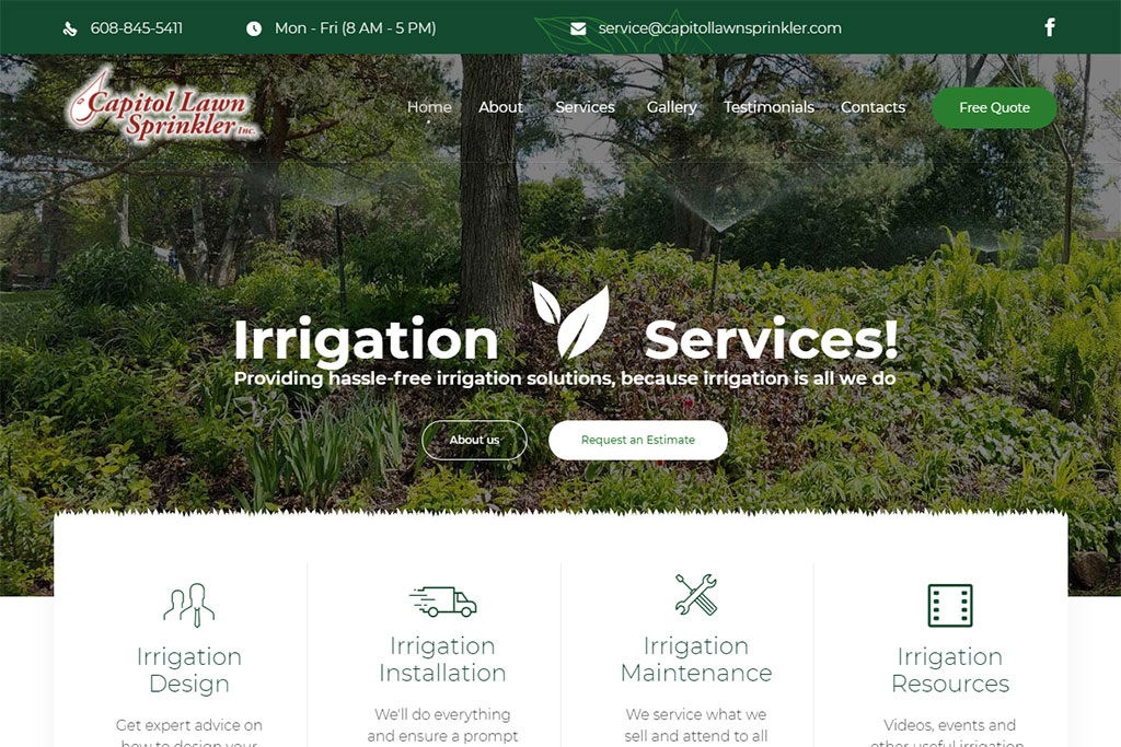 Capitol Lawn Sprinkler Inc. Website