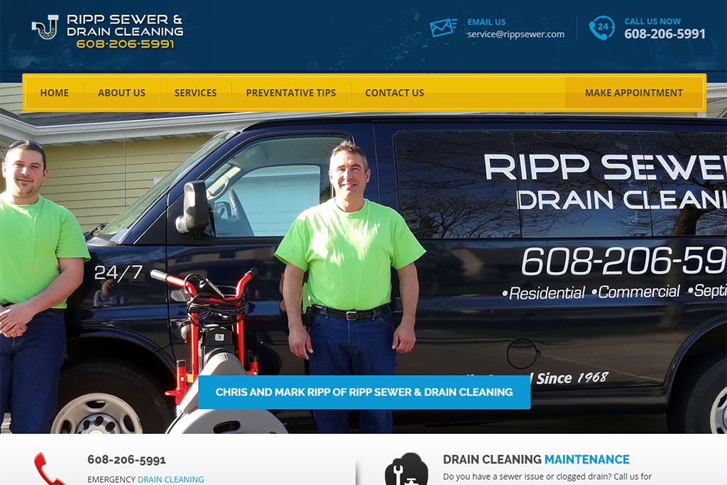 Ripp Sewer & Drain Cleaning Website