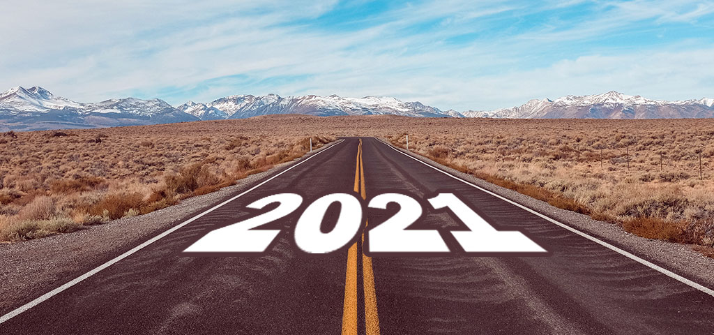 A long stretch of road ahead representing the upcoming year of 2021